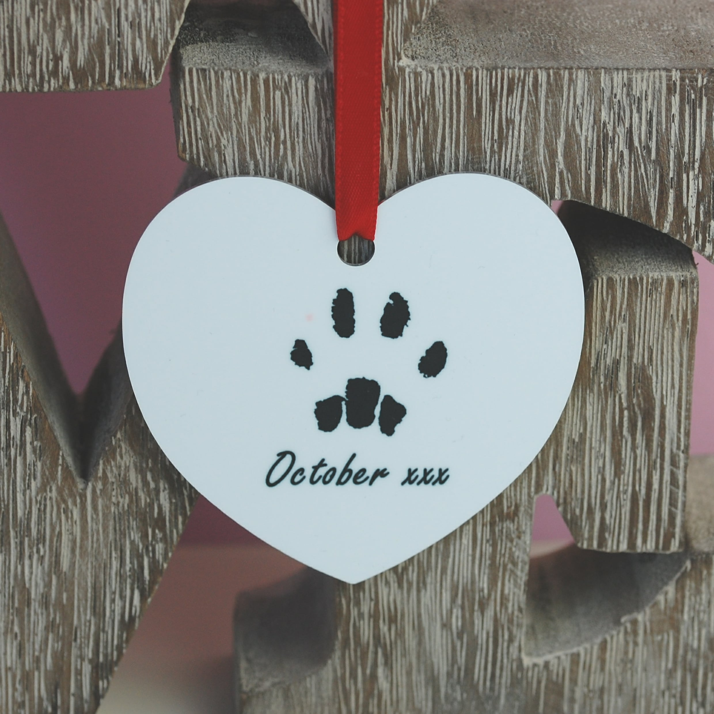 Personalised heart decoration with your pet's unique paw print and photo