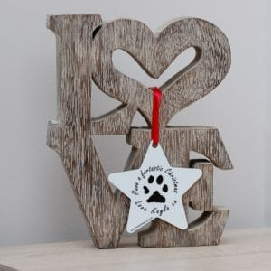 Ordering Personalised Pet Gifts. Personalised star Christmas decoration with your pet's paw print.