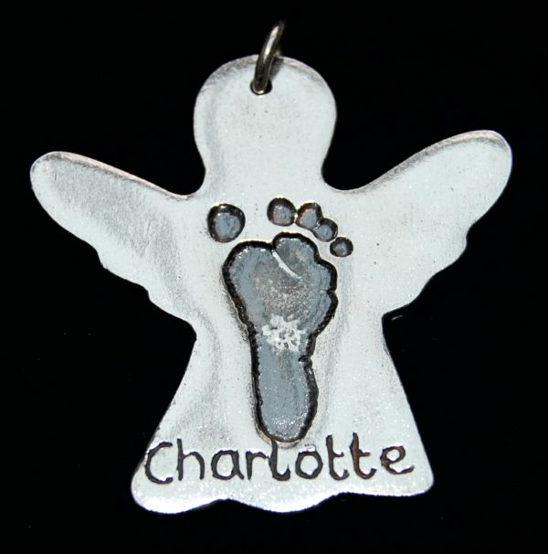 Silver angel charm with footprint and name on the front.
