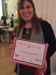 Lisa winning Runner Up Business Mum 2016