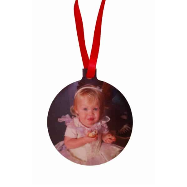 Personalised Christmas ornament with photo and hand/footprint