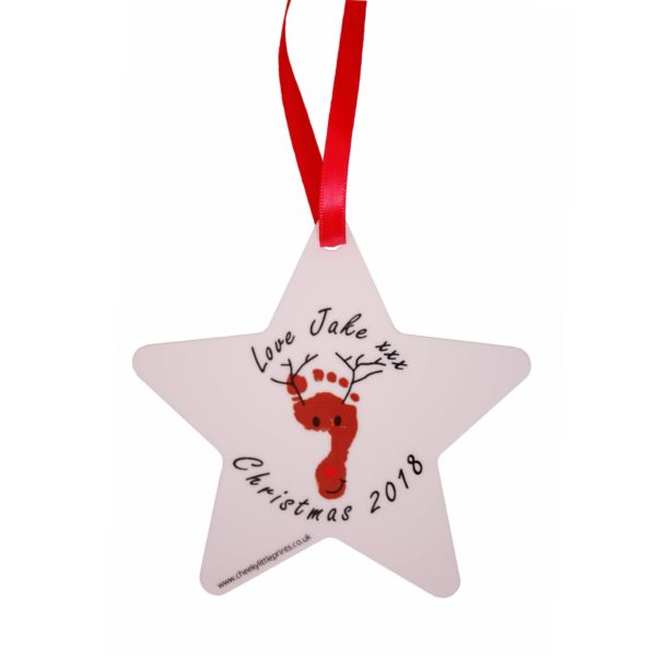 Personalised Christmas decoration with your child's unique reindeer footprint