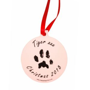 Personalised Christmas decoration with your pet's unique paw print and photo
