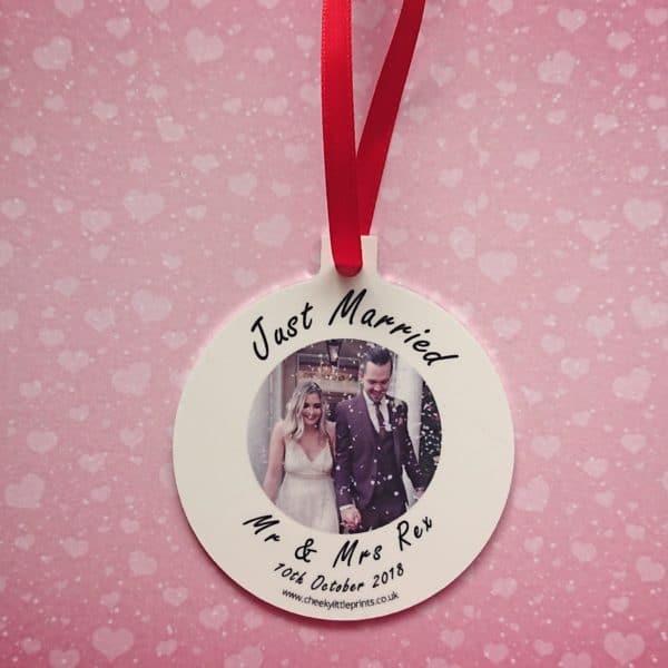 Personalised wedding Christmas decoration