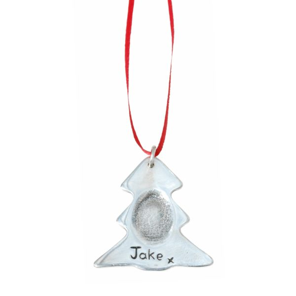 Silver Christmas tree decoration with your loved one's fingerprint
