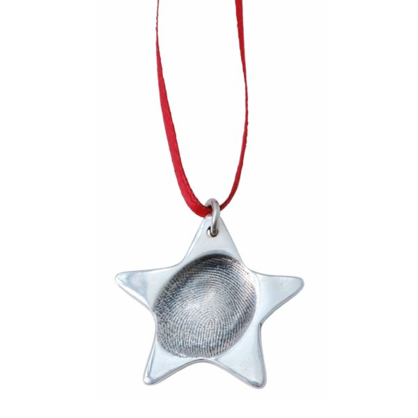 Silver star with your loved one's fingerprint