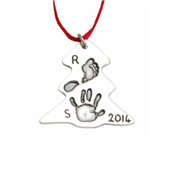 Silver Christmas tree decoration with hand and footprint
