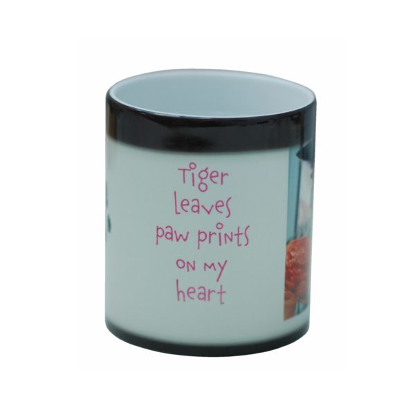 Colour change mug personalised with paw print and photo