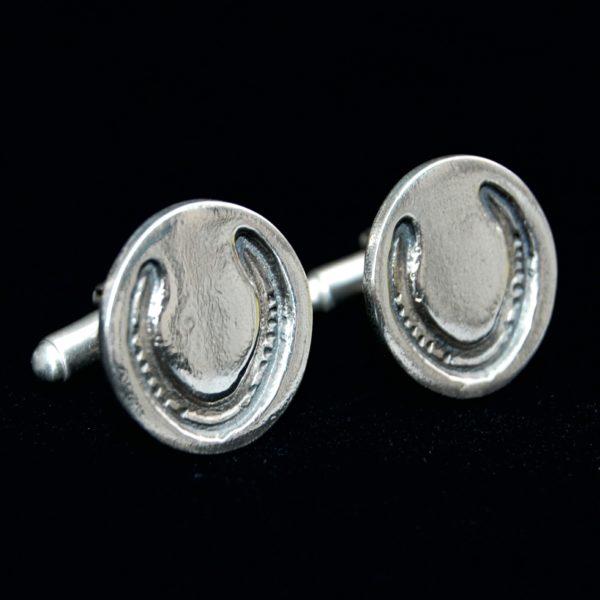 Silver circle cufflinks showcasing your horse's unique shoe imprints.