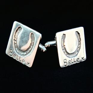 Square silver cufflinks showcasing your horse's unique shoe imprints.