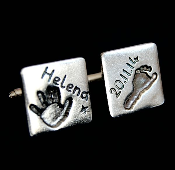 Square silver cufflinks with hand & footprint. Personalised with hand inscribed name and date of birth.