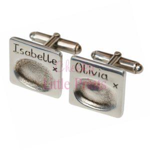Square silver fingerprint cufflinks