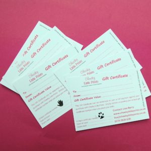 Our Gift Certificates can be gifted in your chosen denomination. Each certificate has a hand or paw print stamp of authentication.