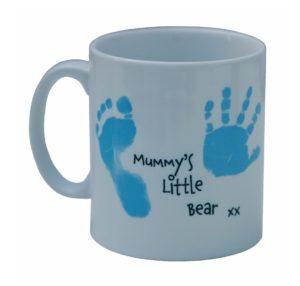 Personalised mug with hand/footprint and photo
