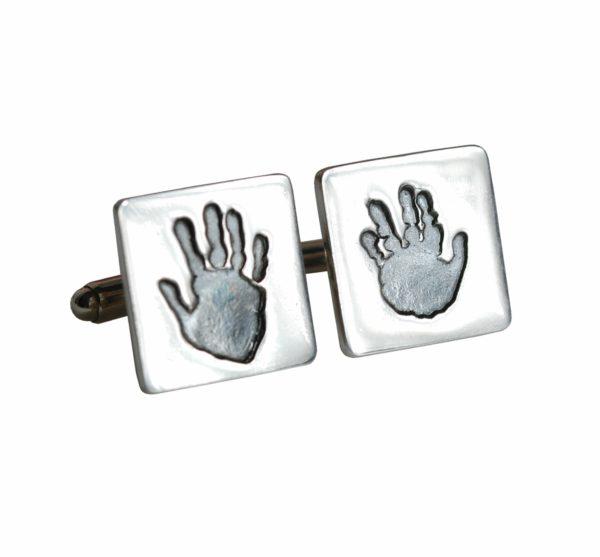 Sterling silver handprint cufflinks