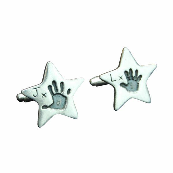 Silver star handprint cufflinks