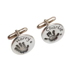 Silver circle cufflinks with your child's handprints