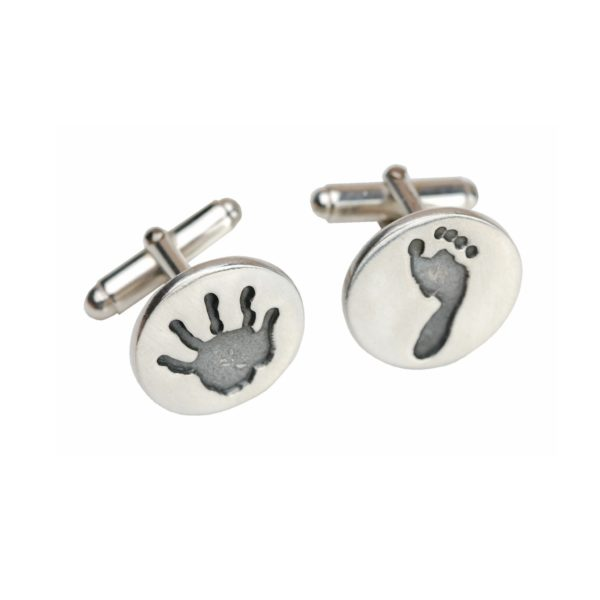 Silver circle hand and footprint cufflinks