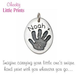 Silver handprint charm