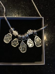 Paw print charms on necklace