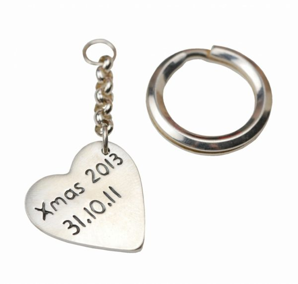 Inscription on the back of heart keyring