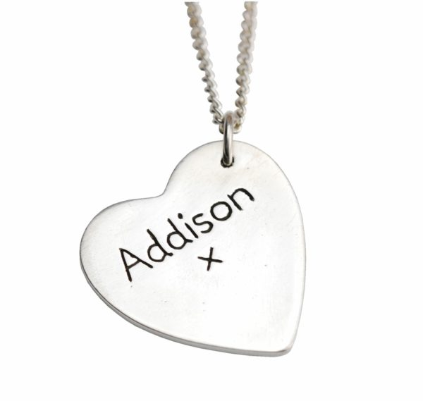 Hand inscribed name on the back of a charm