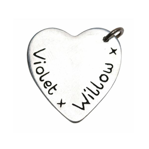 Inscription on the back of hand and footprint charm