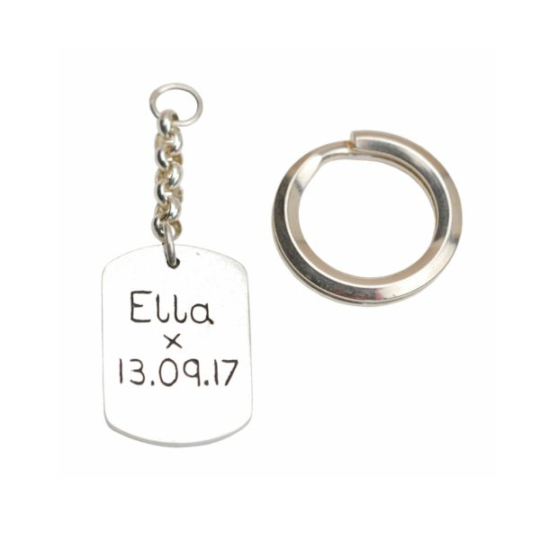 Inscription on the back of hand/footprint keyring