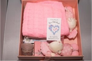 The beautiful contents of a baby girl keepsake box...