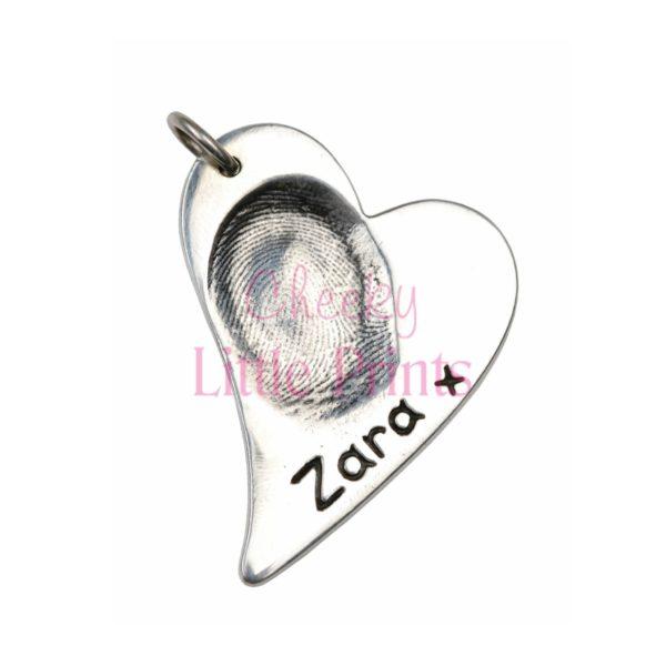 Large silver curved heart fingerprint charm