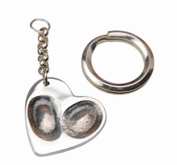 Silver heart keyring with two fingerprints