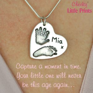 Large silver heart with your child's hand and footprint