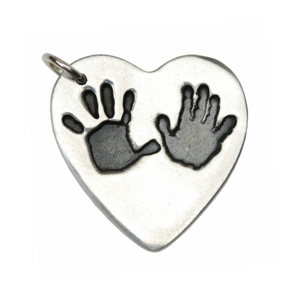 Large silver heart charm with hand prints