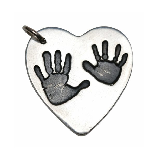 Large silver hand print charm