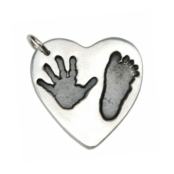 Large silver heart charm with hand and footprint