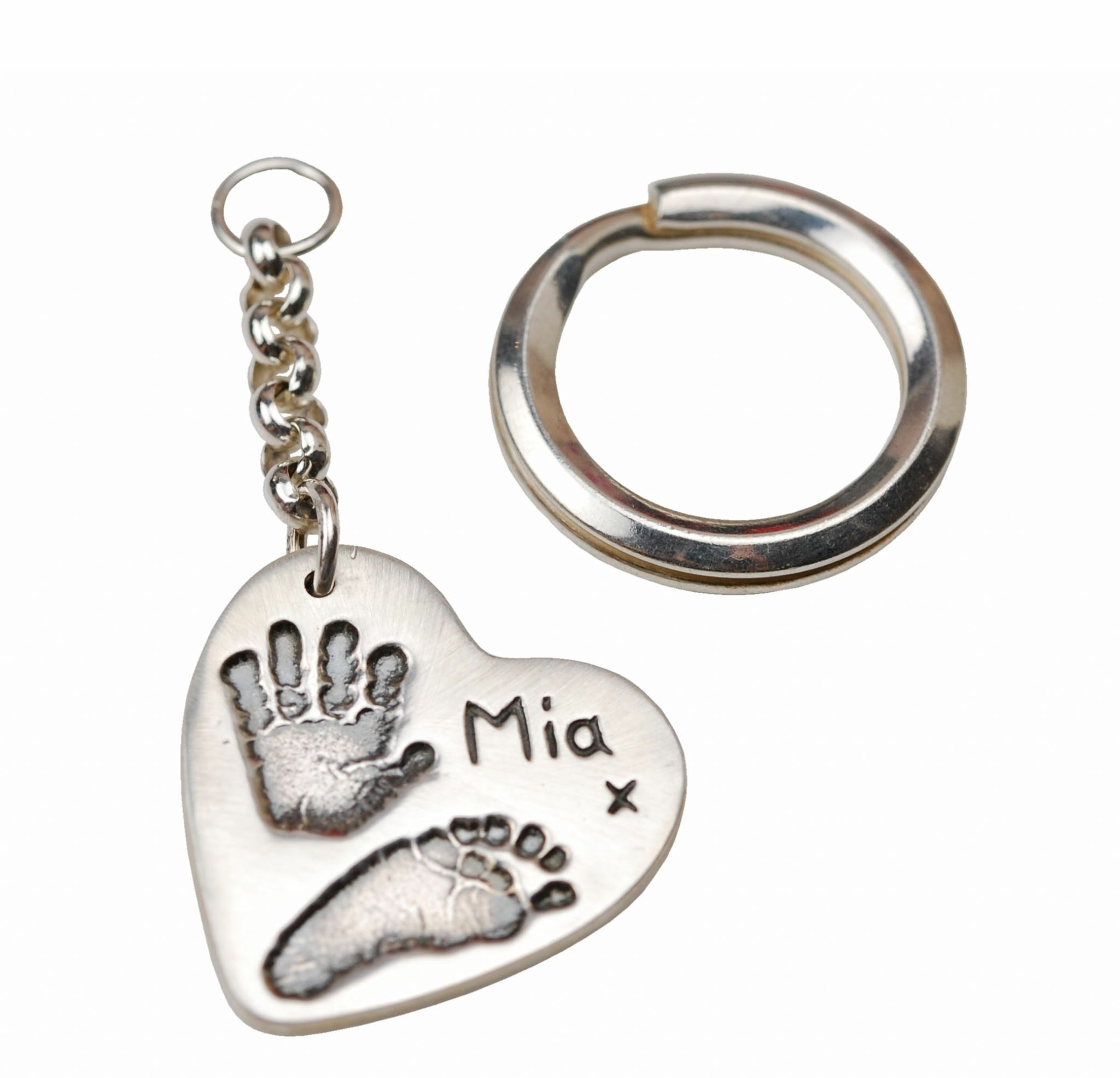 Silver heart hand and footprint keyring