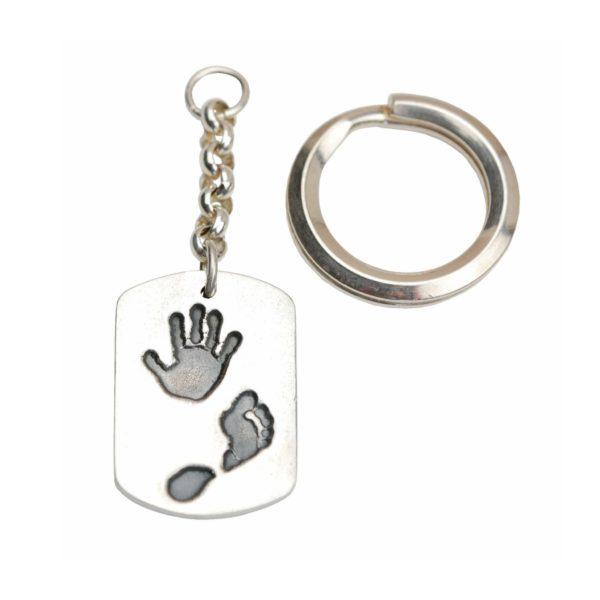 Large silver dog tag hand and footprint keyring