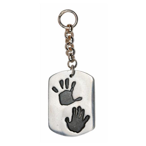 Large silver dog tag handprint keyring