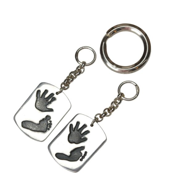 Large silver dog tag keyrings with hand and footprints
