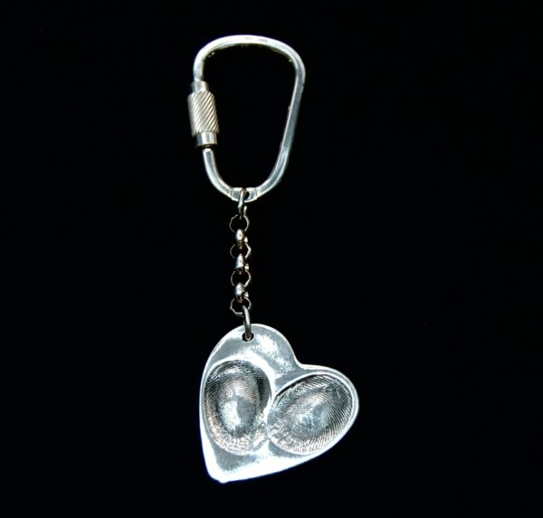 Large heart shaped silver fingerprint keyring with sterling silver keyring attachment.