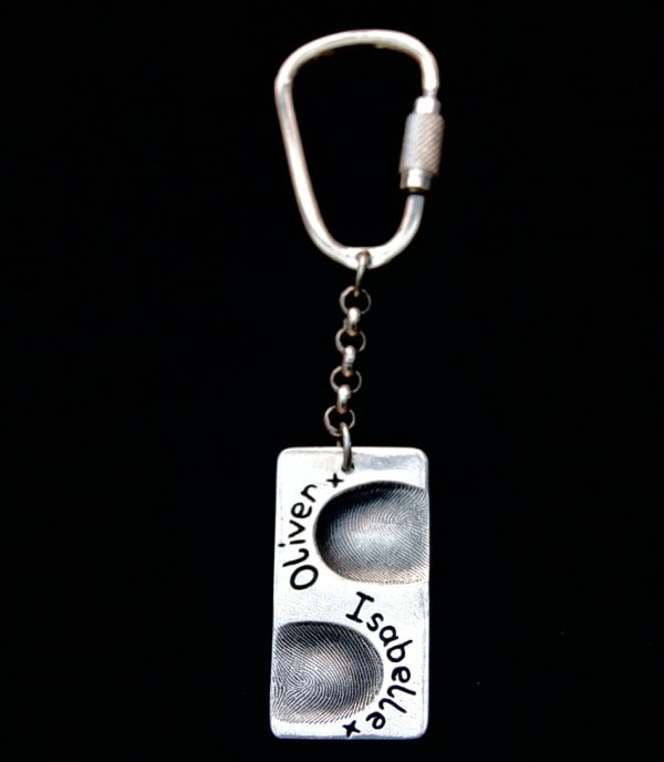 Large rectangle shaped silver fingerprint keyring with sterling silver keyring attachment.