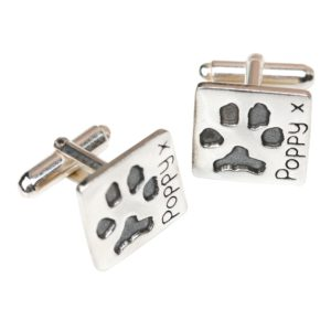 Silver square cufflink with pet's paw prints