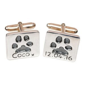 Silver cufflinks with your pet's paw prints