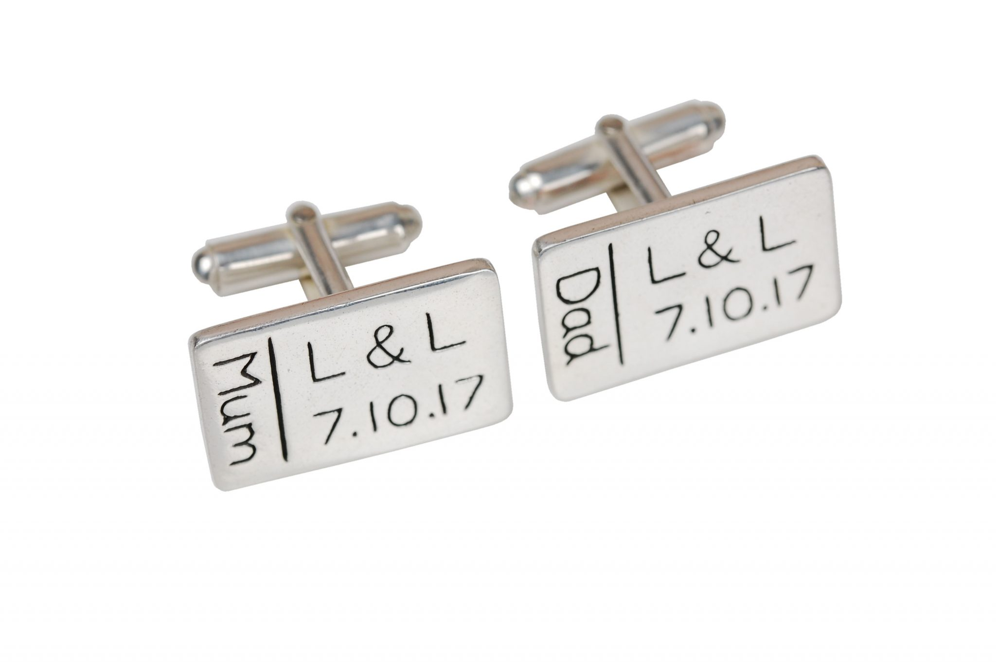 Rectangle cufflinks with personalised words