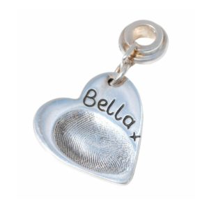 Silver fingerprint charm with charm carrier