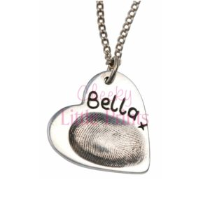 Silver heart charm with your little one's fingerprint