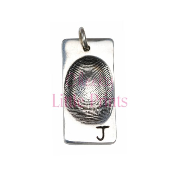 Silver rectangle charm with your loved one's fingerprint