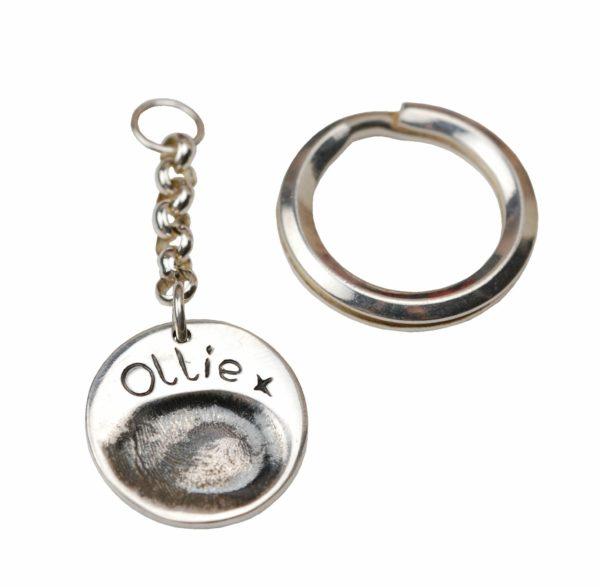 Silver circle fingerprint keyring