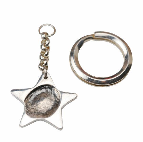 Silver star fingerprint keyring