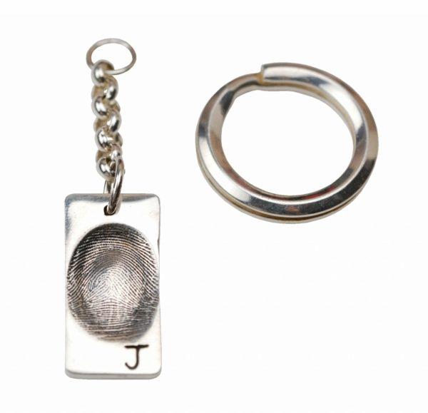 Silver rectangle fingerprint keyring